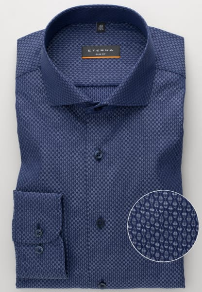 ETERNA LONG SLEEVE SHIRT SLIM FIT TEXTURED WEAVE BLUE PATTERNED