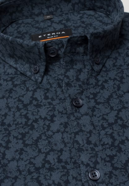 ETERNA LONG SLEEVE SHIRT SLIM FIT CORD NAVY BLUE PRINTED