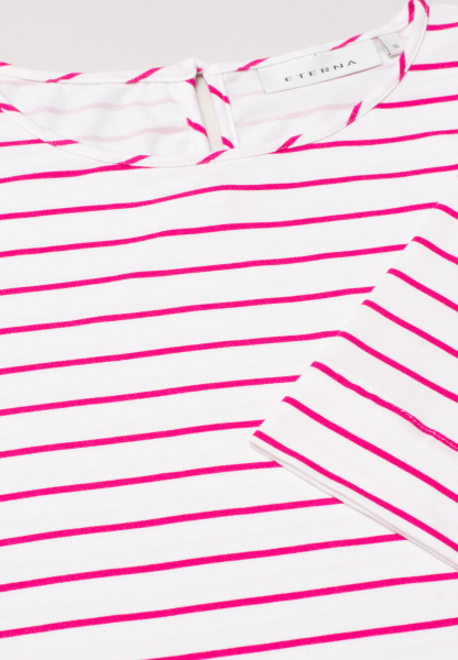 ETERNA HALF SLEEVE BLOUSE MODERN CLASSIC JERSEY PINK / WHITE STRIPED