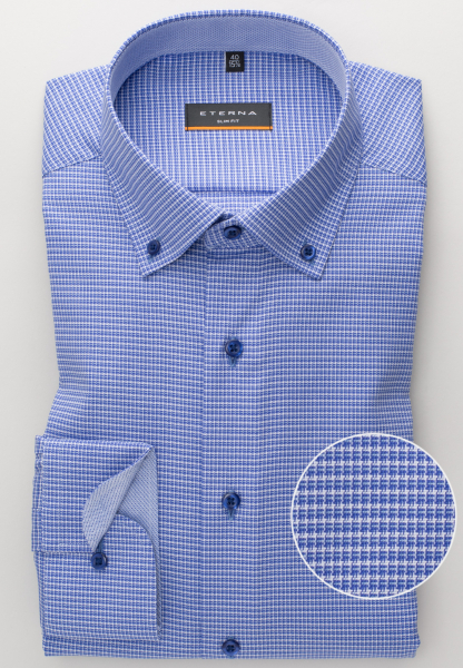 ETERNA LONG SLEEVE SHIRT SLIM FIT STRETCH BLUE STRUCTURED