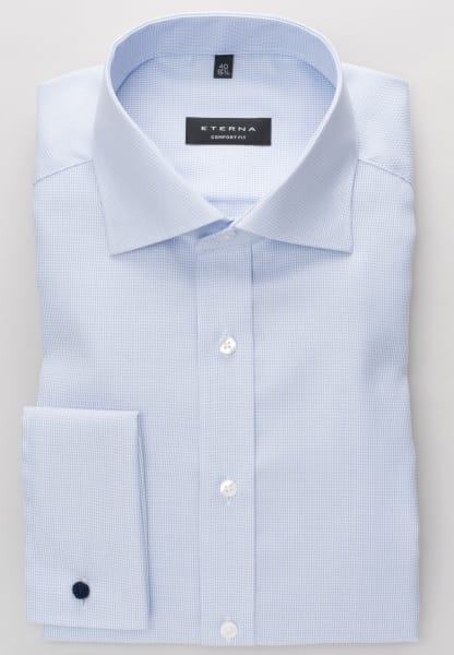 ETERNA LONG SLEEVE SHIRT COMFORT FIT TWILL LIGHT BLUE STRUCTURED