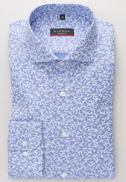 ETERNA LONG SLEEVE SHIRT MODERN FIT POPLIN BLUE / LIGHT BLUE PRINTED