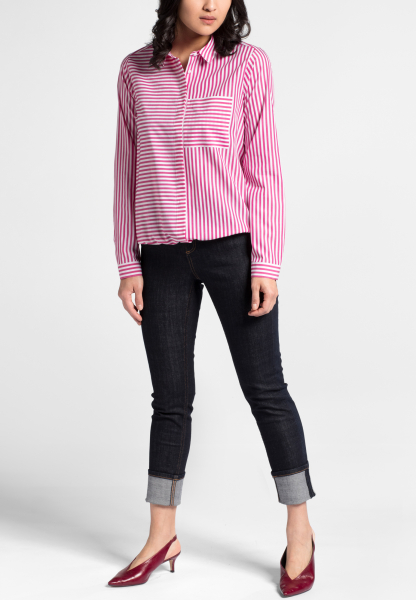 LONG SLEEVE BLOUSE 1863 BY ETERNA - PREMIUM POPLIN PINK / WHITE STRIPED