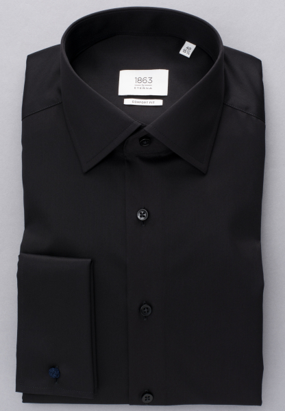 ETERNA LONG SLEEVE SHIRT COMFORT FIT GENTLE SHIRT TWILL BLACK<BR> UNI