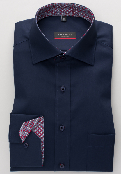 ETERNA LONG SLEEVE SHIRT MODERN FIT POPLIN NAVY BLUE UNI