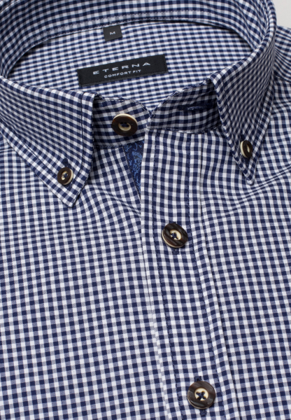 ETERNA LONG SLEEVE SHIRT COMFORT FIT POPLIN BLUE/WHITE CHECKED