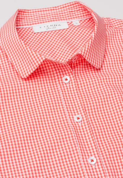 ETERNA WITHOUT SLEEVES BLOUSE SLIM FIT CORAL / WHITE CHECKED