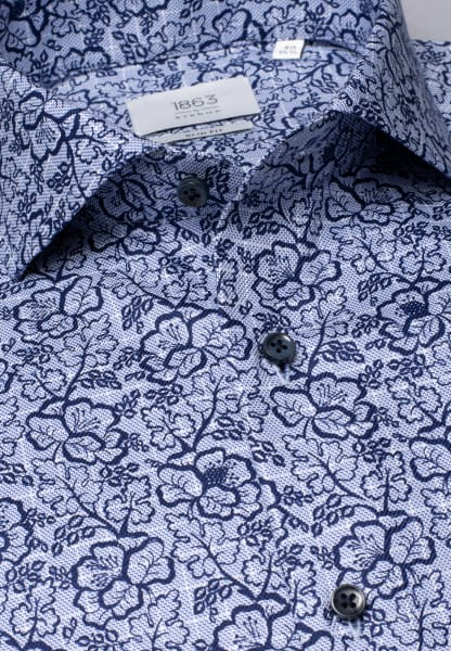 ETERNA LONG SLEEVE SHIRT SLIM FIT TWILL NAVY / LIGHT BLUE PRINTED