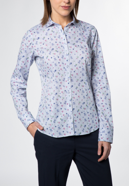 ETERNA LONG SLEEVE BLOUSE FOR TALL WOMEN SLIM FIT BLUE / MULTICOLORED PRINTED
