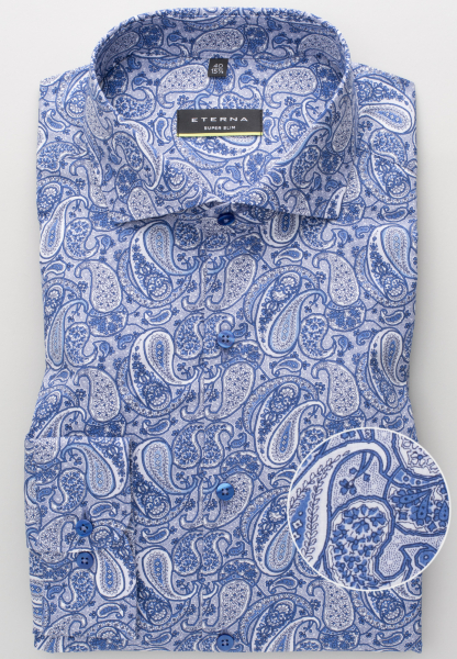 ETERNA LONG SLEEVE SHIRT SUPER-SLIM POPLIN BLUE/WHITE PRINTED