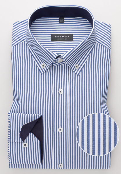 ETERNA LONG SLEEVE SHIRT COMFORT FIT POPLIN BLUE/WHITE STRIPED