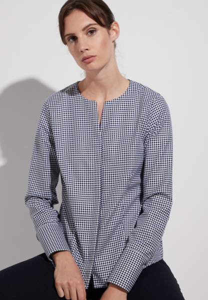 ETERNA LONG SLEEVE BLOUSE MODERN CLASSIC TWILL BLUE/WHITE CHECKED