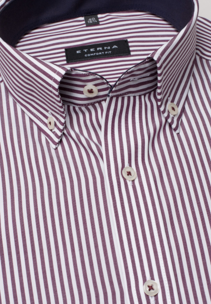 ETERNA LONG SLEEVE SHIRT COMFORT FIT POPLIN WINE RED / WHITE STRIPED